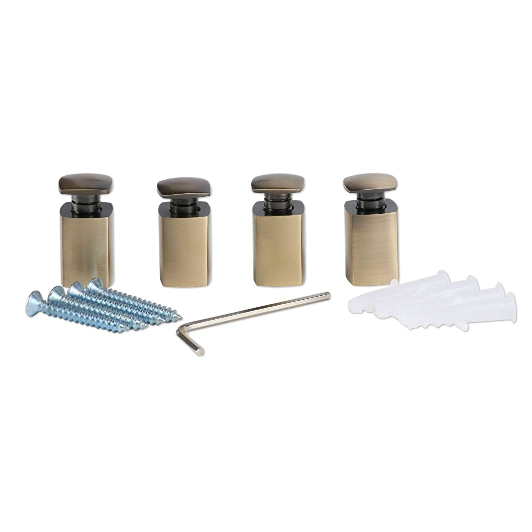 Polygonal Brass Sign Standoff,Antique Brass,Burglarproof Sign Standoff, for Acrylic,Glass,PVC,Glass Panel,Wood,Pack of 4