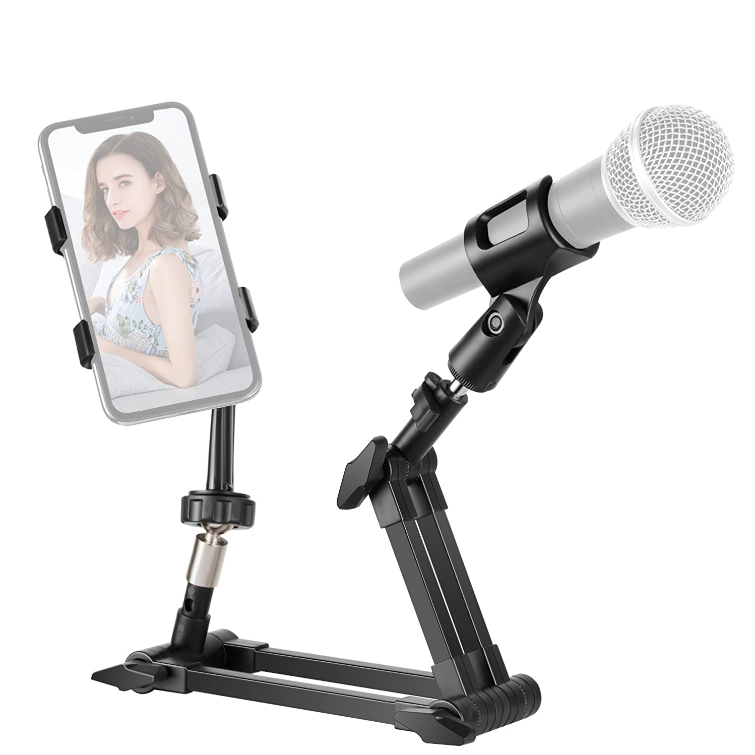 Neewer Table Top Foldable Live Broadcast Stabilizer with Mic Holder and Phone Clamp Detachable and Rotatable Compatible with Most Smartphones and Microphones for Recording(Black)