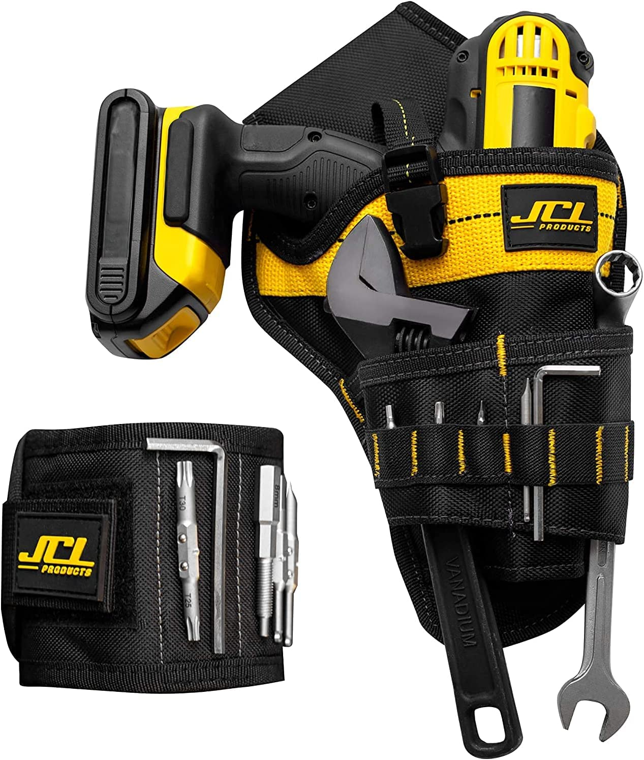 JCL Cordless Drill Tool Belt Holster and Magnetic Wristband Comb