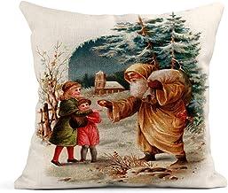 Cojín Visita de Navidad de San Nicolás Principios de 1900 Vintage Comparar con No 34040 Cojín de Lino de Santa Cojín Decorativo para el hogar