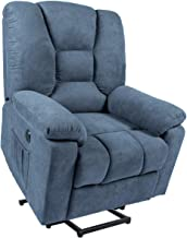 Mellcom Electric Power Lift Massage Recliner Chair Fabric Sofa with Massage,Heat and Vibration with Remote,Blue