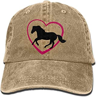 Unisex Galloping Horse With Heart Jeanet Baseball Cap Adjustable Peak Cap For Men Or Women
