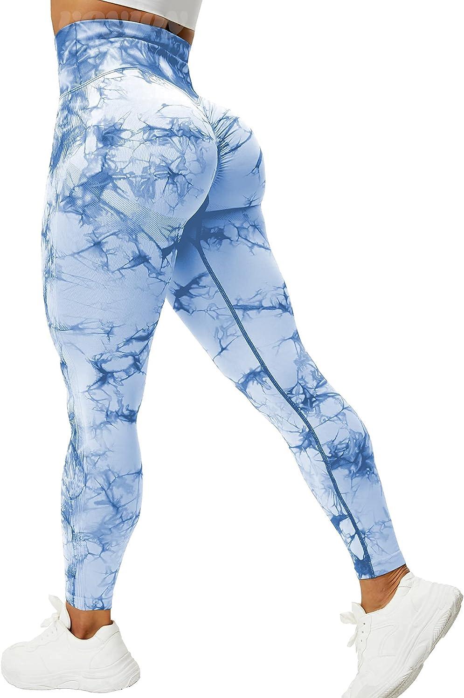 VOYJOY Tie Dye Seamless Leggings for Women High Waist Yoga Pants, Scrunch Butt Lifting Elastic Tights