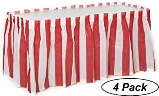 Oojami 4 Pack Red & White Striped Table Skirt Carnival Circus Decorations (4)