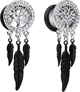 Surgical Steel Tree of Life Feather Dangle Plug Earring Flesh Ear Gauges Ring Tunnels