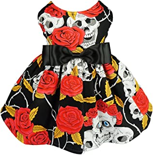 Fitwarm Skull Pet Clothes for Dog Dresses Cat Vest Shirts Red