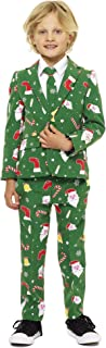 Christmas Suits for Boys in Different Prints – Ugly Xmas Sweater Costumes Include Jacket Pants & Tie