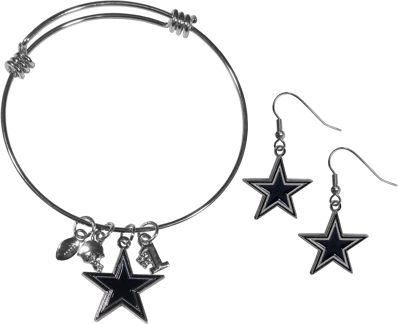 Siskiyou Sports NFL womens Dangle Earrings and Charm Bangle Bracelet Set