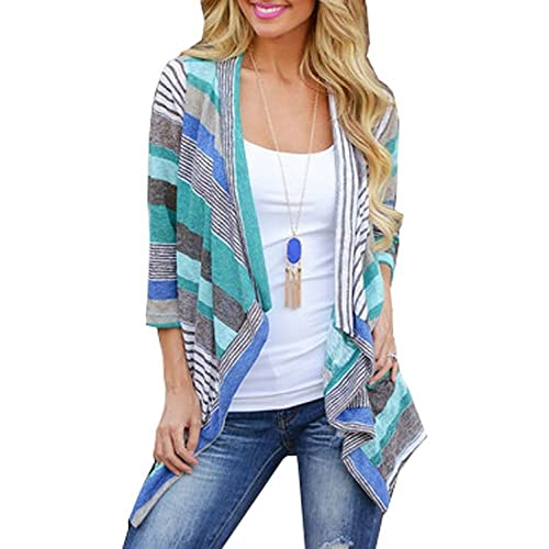 DEARCASE Women s 3 4 Sleeve Cardigans Striped Printed Open Front Draped  Kimono Loose Cardigan 32dbc5bb5