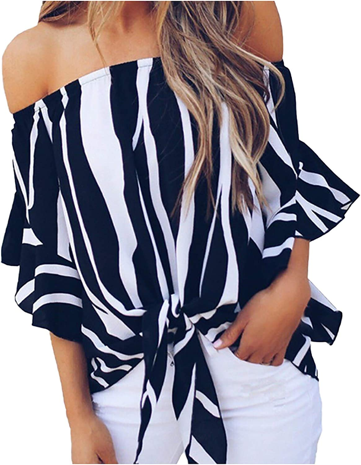 Womens Sexy Off Shoulder Tops Ruffles Half Sleeve Blouse Tie Knot T Shirt Flowy Stylish Pullover