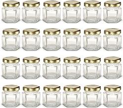 PremiumVials 24 pcs, 1.5 oz Mini Hexagon Glass Jars with Gold Lids, Wedding Favors, Shower Favors, Baby Foods, Canning, sp...