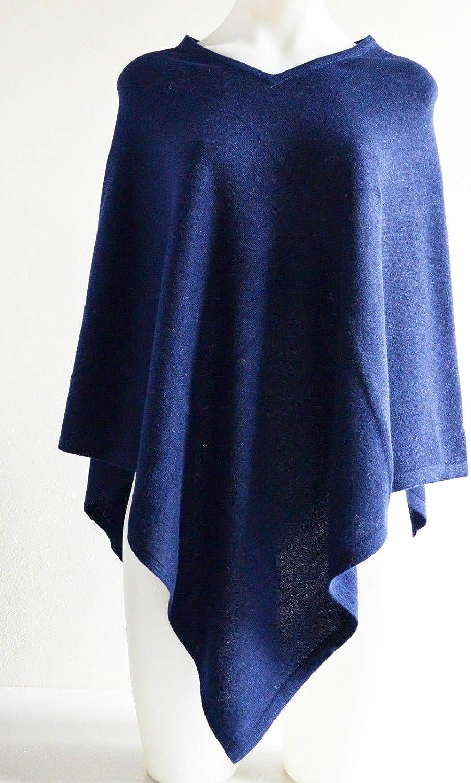 100% Cashmere Pashmina Navy bluee Poncho Wool Cape Wrap Soft Warm Women Long Sleeve Winter