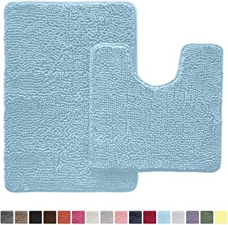 Gorilla Grip Original Shaggy Chenille 2 Piece Rug Set Includes Oval U-Shape Contoured Mat for Toilet and 30x20 Carpet Rugs, Machine Wash Dry, Soft Plush Carpeted Mats Sky Blue