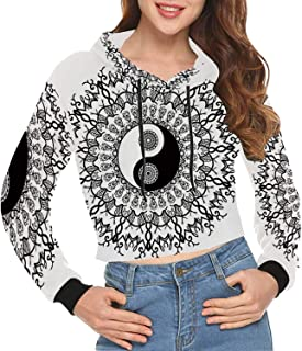 Waterfall Print Crop Hoodie for Shopping