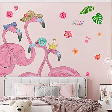 Flamingo Wall Stickers for Bedroom Jungle Flamingo Wall Stickers as Wall Decoration for Living Room Nursery 150/×130cm|Decorative Wall Decal Wallpaper for Wall Window Furniture Kitchen Window Hallway