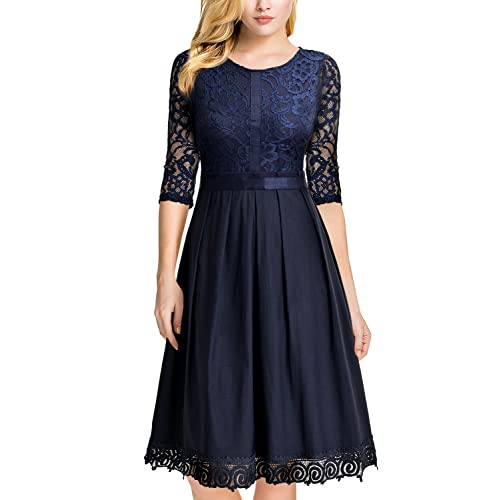 6e0bffd29 MIUSOL Women's Vintage Floral Lace 1950s Swing Party Dress