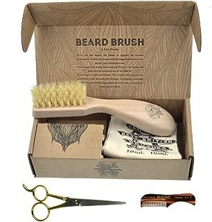Beard & Mustache Set of Kent BRD2 Boar Bristle Beard Brush + Kent 81T Handmade Sawcut Comb + Camila Solingen CS07 Barber Scissors from Germany. Grooming & Trimming Kit for Men Care. Great Gift !!