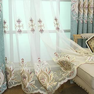 AiFish Sheer Curtains for Living Room 63 inch Length Rod Pocket Elagant Embroidered Lace Semi Sheer Home Fashion Floral Tulle Voile Drape Panel Curtains for Sliding Glass Door 1 Panel W114 x L84 inch