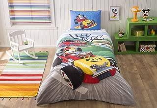 Bekata Mickey Mouse Bedding Set, Kid's Quilt/Duvet Cover Set, 100% Cotton Single/Twin Size, (Duvet Cover, Fitted Sheet, Pillowcase) (3 PCS)