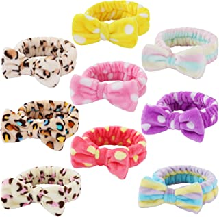 9 Pcs Spa Headband Soft Bow Hair Band Skincare Headbands for Washing Face Women Facial Makeup Towel Head Band Cute Head Wraps for Spa Shower Makeup Whasing Face