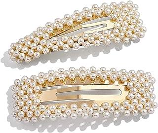 2 Pack Pearl Hair Clips Gold Large Hair Pins Barrette Ties for Women Girls, Handmade Fashion Pearl Hair Accessories Hair C...