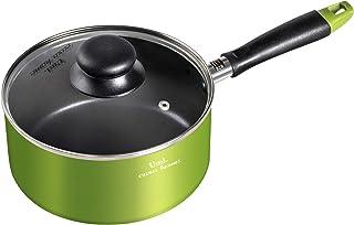 [Amazonブランド] Umi(ウミ) -片手鍋 カレー鍋 ラーメン鍋 IH対応 一人用鍋 ダイヤモンドコートパン ガラス蓋付-18㎝,アップルグリーン