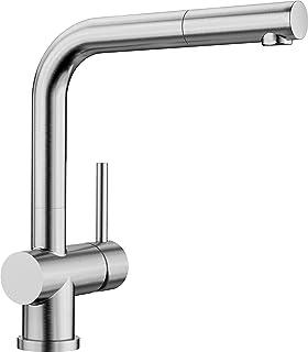 BLANCO Lomis-S, Einhandmischer mit ausziehbarer Schlauch-Brause / Küchenarmatur, Edelstahl gebürstet, Hochdruck, 1 Stück 518716