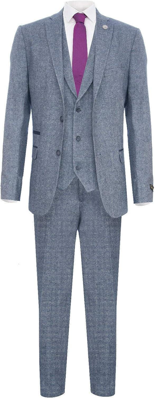 Mens Light Blue 3 Piece Tweed Suit Herringbone Wool Vintage Retro Peaky Blinders