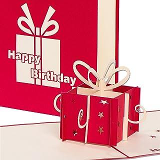 3D Geburtstagskarte - Rotes Geschenkpaket - Pop up Karte, Gl