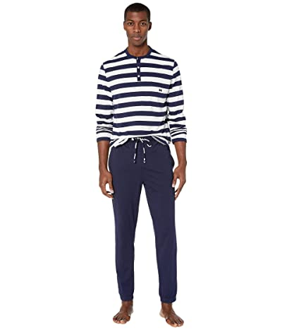 HOM Pavillon Long Sleeve PJ Set (Navy/White) Men