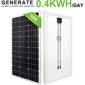 ECO-WORTHY Pannello solare monocristallino da 100 watt 12 volt per camper, barca, casa, giardino