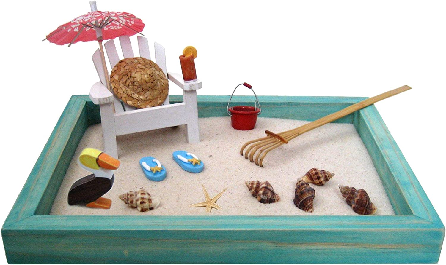 Mini Beach Zen Garden for Relaxation and Meditation, Tropical Island Getaway Escape at Your Desk