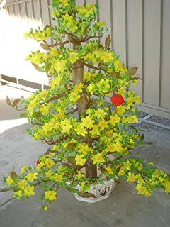made in Vietnam Plastic Artificial Yellow Apricot Flower Tree with Pot 40