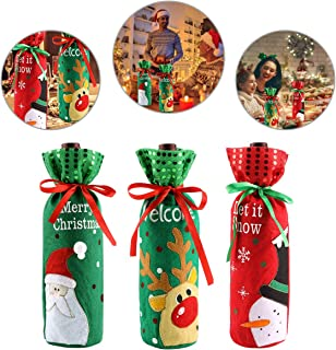 dise/ño de alce para decoraci/ón de mesa de Navidad Kungfu Mall 3 bolsas de regalo para botella de vino de Navidad con dise/ño de /árbol de Navidad de Pap/á Noel