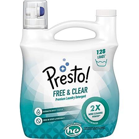 Amazon Brand - Presto! Concentrated Liquid Laundry Detergent, Free & Clear, 128 Loads, 96 Fl Oz