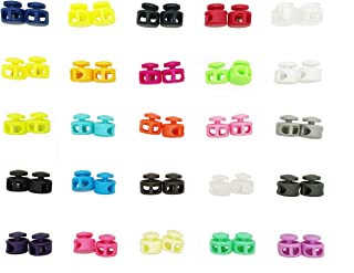 Summer-Home 50Pcs 22-25 Colors Double Hole Spring Cord Locks Round Ball Shaped Toggle Stoppers Stop Sliding Cord Fasteners Locks Buttons Ends for Camping & Hiking, Shoelace Replacement, Backpacks