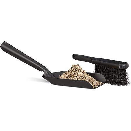 Relaxdays Kit pelle et balai 41 cm nettoyage cheminée en acier cendres serviteur, noir