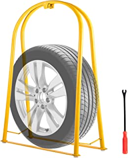 VEVOR Tire Inflation Cage 2-Bar Tire Cage, Heavy-duty Car Tire Inflation Tool Rugged Steel Frame Portable Tire Cage with A Tire Changer, Yellow