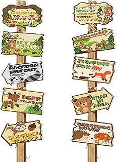 10 قطع من علامات حفلات حيوانات الغابة والحيوانات البرية ترحيب لافتة باب حيوانات الغابة قطع لموضوع حفلة عيد ميلاد لوازم است...