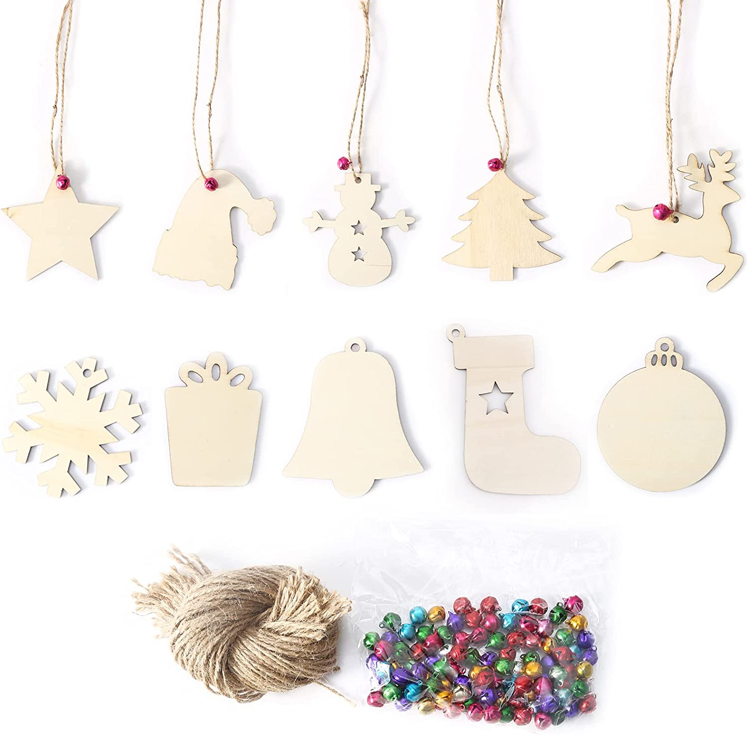 Leyeet Max 65% OFF Unfinished Wooden Ornaments Christmas Wood Board Pendant 25% OFF