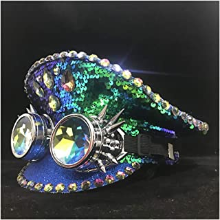SHENTIANWEI Men Women Steampunk Green Police Hat with Metal Classes Performance Military Hat Captain Hat Adult Hat 3 Size