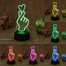 Feamos 3D Illusion Led Lamps Optical Night Light with 7 Colors for Home Office Room Theme Decor for Kids Adults Gift (Finger Heart)