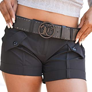 Studded Wide Fashion Belt For Women Soft Genuine Black Leather Designer Plus Size Waist Belts Large Round O Ring Logo Buckle