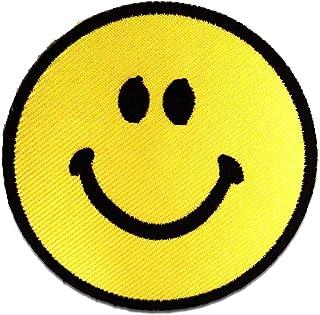 Smiley - Parches termoadhesivos bordados aplique para ropa, tamaño: 7,5 x 7,5 cm