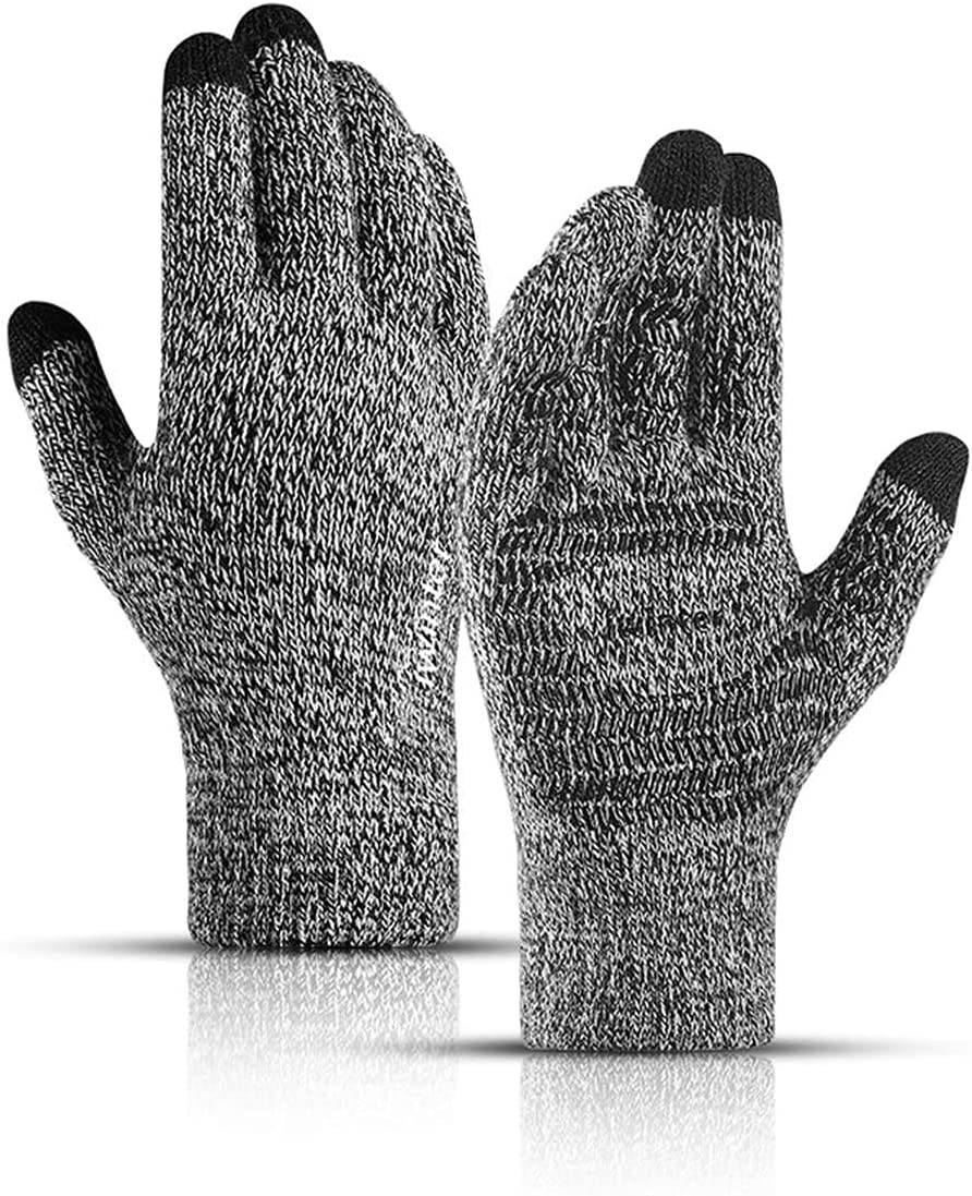RSQJ Knitted Touch Screen Gloves for Men and Women Autumn and Winter Gloves Thickened Warmth Couples Wool Plus Velvet Non-Slip Outdoor Riding and Mobile Phone (Color : Black and White)