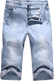 Roberoody Handsome Mens Fashion Print Hip Hop Ripped Bleached Mid Waist Denim Shorts