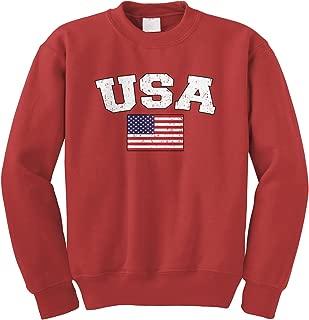 Faded Distressed USA Flag Crewneck Sweatshirt