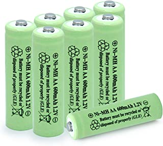 QBLPOWER AA Ni-MH 600mAh 1.2V Rechargable Solar Light Batteries for Outdoor Solar Lamps Garden Lights Remotes Mice(8Pcs)