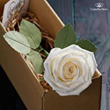 1st Year Wedding Anniversary Gift Paper Rose Box, Unique Handmade Forever Roses Flower Gift for Valentines, Mothers Day (White)