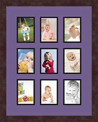 Art to Frames Double-Multimat-762-119//89-FRBW26061 Collage Frame Photo Mat Double Mat with 10-4x4 and 4-4x6 and 1-4x9 Openings and Espresso Frame